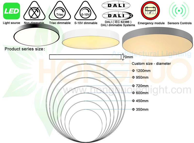 600 Round Ceiling Mounted Led Light Fixture Circular Led Luminaire High Quality Round Led Ceiling Light Philips Led Dali Dimming Triac Dimmable Led 4000k 3500k Application Conference Halls Lighting Lobbies Led Manufacturer Supplier Factory Hongnuo