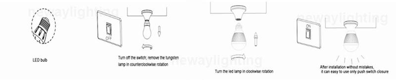 6W E27 LED Bulb Light Installation Instructions