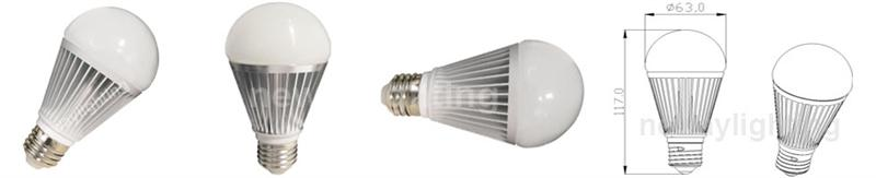 9W SMD LED Bulb A60 diameter dimensional drawing pictures.