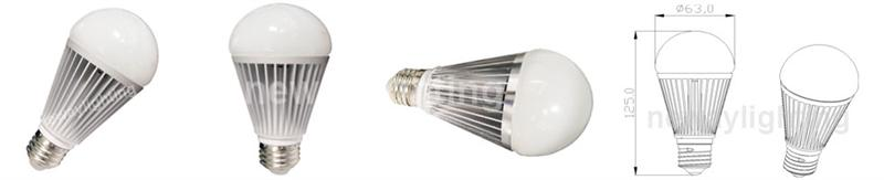 12W High Brightness LED Bulb A60 diameter dimensional drawing pictures.
