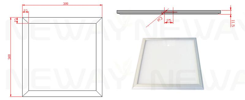 18W 300x300 RGB LED Ceiling Panel Dimensional Drawings