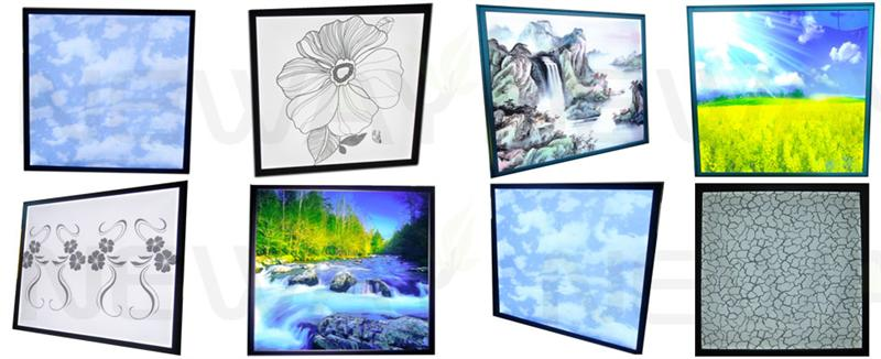 45W 600x600 LED Ceiling Lighting Panel etching or printing various beautiful patterns