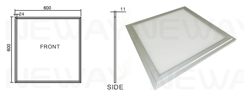 45W 600x600 LED Ceiling Lighting Panel Dimensional Drawings