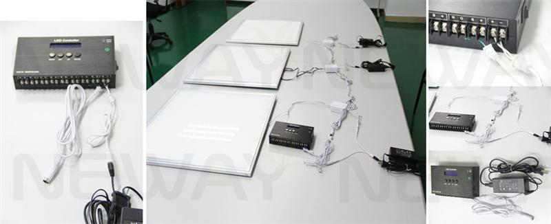 45w 600x300 led ceiling light panels dmx512 control system and brightness and colour temperature dimmable remote