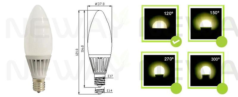 5W E17 Dimmable LED Candle Light Pictures