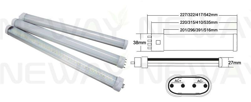 PLL8W 4Pin 2G11 LED Tube Lamp with Milky PC Cover Pictures