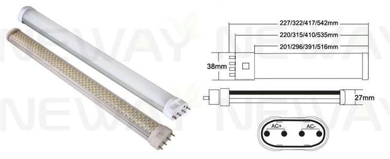 8Wattages 2G11 Lamp Holder LED Tube Light Pictures