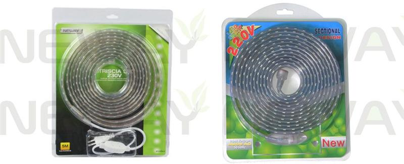 5Meters AC220V High Voltage LED Flexible Strip Kit Pictures  5Meters AC220V High Voltage LED Flexible Strip Kit can use the input voltage AC110V, AC220V-230V. Product packaging with color card blister transparent color put together beautifully packaged style. NEWAYLIGHTING own R & D monochrome 3528, 5050 high Voltage and 5050RGB full color control high Voltage lamps of the series, mold several. Popular selling in Europe and the United States of large supermarkets and shopping malls, divided into : 1M and 5 meters LED high-Voltage self- assembled series of LED Flexible Strip.