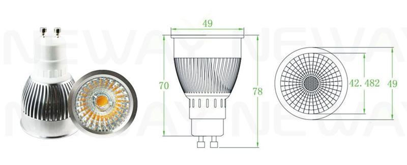 Dimmable COB 6W LED Spotlight Product Introduction NEWAY professional R&D, production and sales of dimmable cob LED spotlight 6W gu10 spotlights, and in accordance with the guidance and technical support, If you want to understand dimmable cob LED spotlight 6W gu10 spotlights, or interested in our dimmable cob LED spotlight 6W gu10 spotlights. Please Feel free to contact us. Product Features: 1.Light source used LED COB package, COB LED surface light source emitting more mildness, product beam is divided into 38 degrees and 60 degrees two luminescent angle type, can be used directly in the inner track lights and track light, as the energy saving beautiful use, and can use environment the cob dimming led spotlights cob track spotlights. 2.Energy saving: ultra-low-power, led cob spotlights energy saving more 80% than traditional halogen; environmental protection: No radiation, no mercury, no lead, completely recyclable; Long life: 30,000 to 50,000 hours, 10 times of traditional lamp; quality aluminum shell: aluminum alloy shell, simple but beautiful, scientific and rational led cob cooling structure; independent research and development, mold making; high quality light source: led lamp beads for the use of prominent light source, and each one can reach 100 - 120 LM; constant current driver: the famous Electronic Components constant current drive power to make high-performance, and to enhance the overall performance led cob spotlight; safe: low voltage, low heat, easy to install.