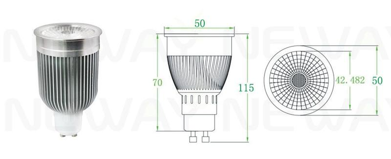 Dimmable 10W LED Spotlight  COB  GU10 Product Introduction NEWAY professional R&D, production and sales of dimmable cob LED spotlight 10W gu10 spotlights, and in accordance with the guidance and technical support, If you want to understand dimmable cob LED spotlight 10W gu10 spotlights, or interested in our dimmable cob LED spotlight 10W gu10 spotlights. Please Feel free to contact us. Product Features: 1.Light source used LED COB package, COB LED surface light source emitting more mildness, product beam is divided into 38 degrees and 60 degrees two luminescent angle type, can be used directly in the inner track lights and track light, as the energy saving beautiful use, and can use environment the cob dimming led spotlights cob track spotlights. 2.Energy saving: ultra-low-power, led cob spotlights energy saving more 80% than traditional halogen; environmental protection: No radiation, no mercury, no lead, completely recyclable; Long life: 30,000 to 50,000 hours, 10 times of traditional lamp; quality aluminum shell: aluminum alloy shell, simple but beautiful, scientific and rational led cob cooling structure; independent research and development, mold making; high quality light source: led lamp beads for the use of prominent light source, and each one can reach 100 - 120 LM; constant current driver: the famous Electronic Components constant current drive power to make high-performance, and to enhance the overall performance led cob spotlight; safe: low voltage, low heat, easy to install.