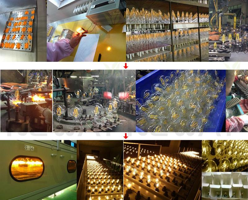 3.5W LED Filament Type Vintage Thomas Edison Light Bulbs E27 Screw Production and Testing