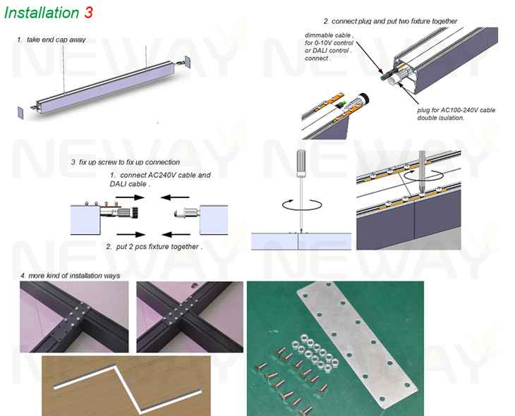 Led office lighting fixture wiring diagram wiring diagram 24w 36w 48w 60w suspended linear led ceiling light office lighting rh newayledlight com ceiling light fixture wiring diagram led light bar wiring diagram cheapraybanclubmaster Images