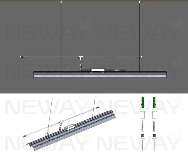 24W 60W Angle Adjustable Suspended Fluorescent Linear