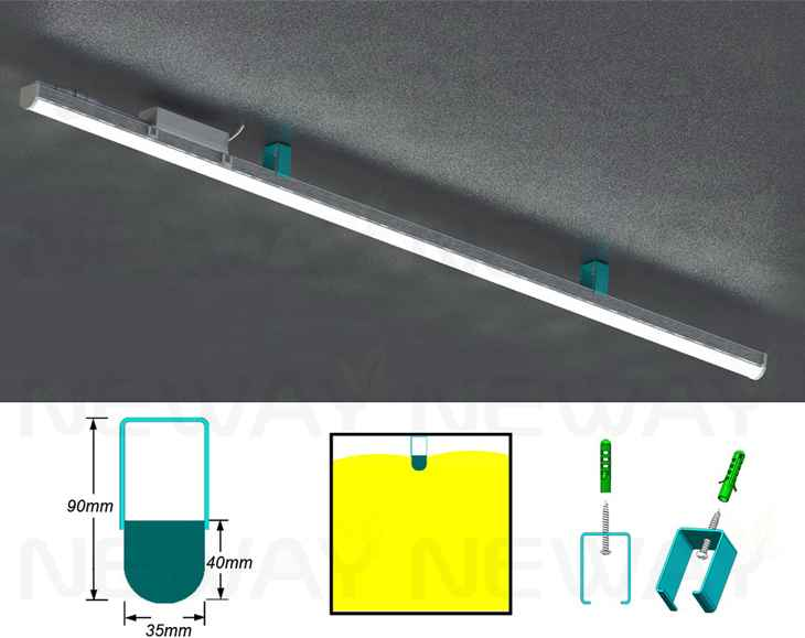 24W 60W Surface Mounted Linear Suspended LED Luminaire