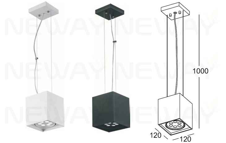 Square Commercial LED Decorative Hanging Modern Pendant
