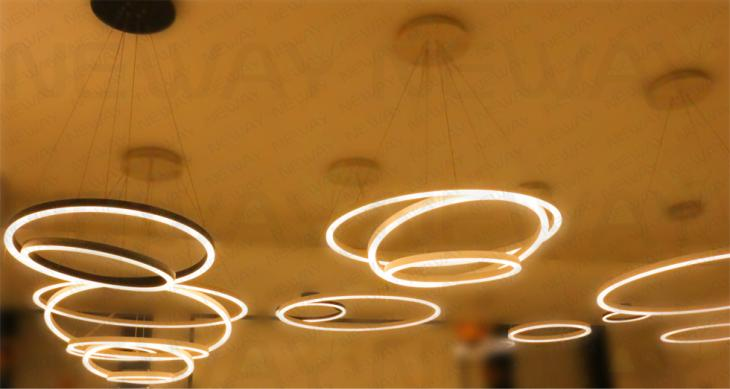 3 Rings Led Suspended Lamp Architectural Lighting Pendant