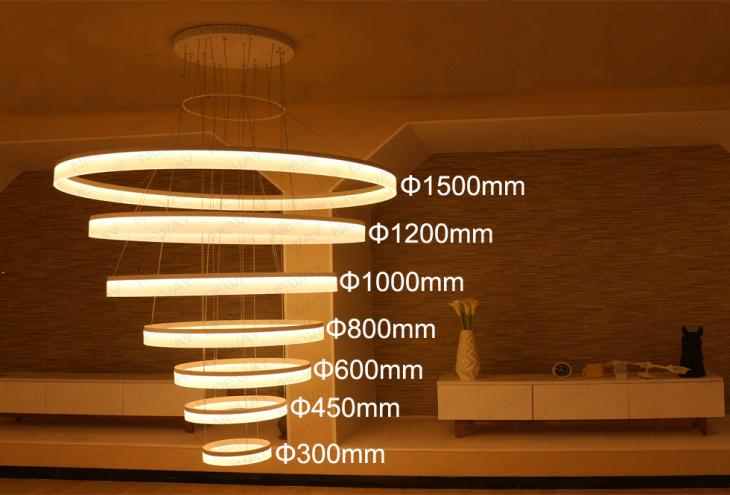 LED 7 Rings Pendant Light Fixture LED Suspension Hanging Drop Lamp ...