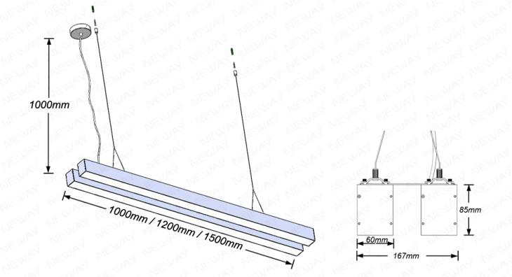 96w144w192w 2lines suspended linear led up down lighting