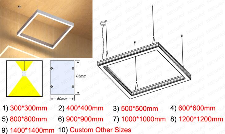 300MM 600MM 1200MM Square LED Pendant Direct Indirect