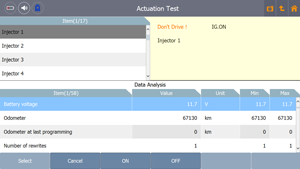G-scan Tab Actuation Test