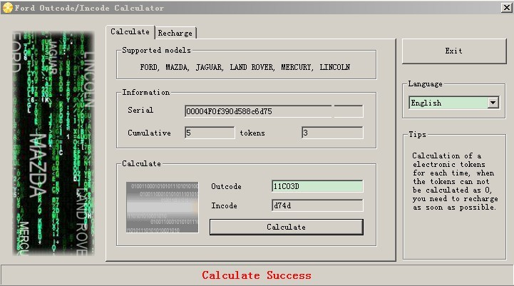 Ford Outcode/Incode Calculator Software Display-1
